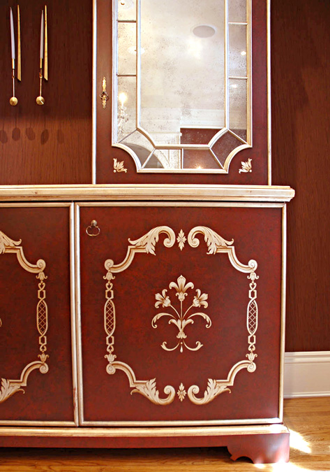 Antique-Red Hutch with White Gold Ornament